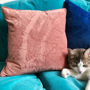Manhattan Abstract Map Velvet Cushion