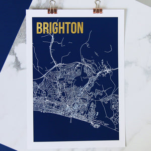 Brighton Abstract Map Print