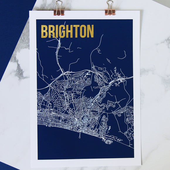 Brighton Abstract Map Print with Gold Foil Detail - Betsy Benn