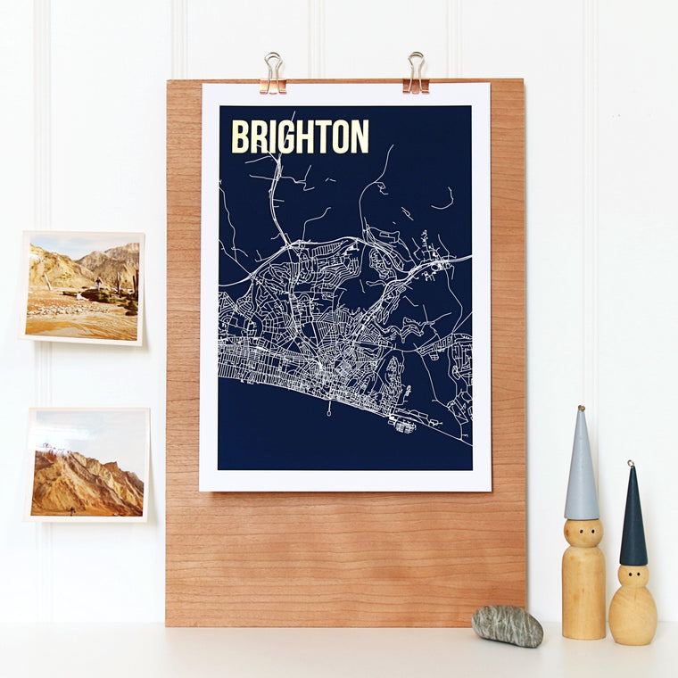 Brighton Abstract Map Print - Betsy Benn