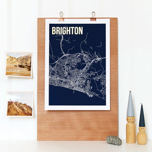 York Abstract Map Print with Gold Foil Detail