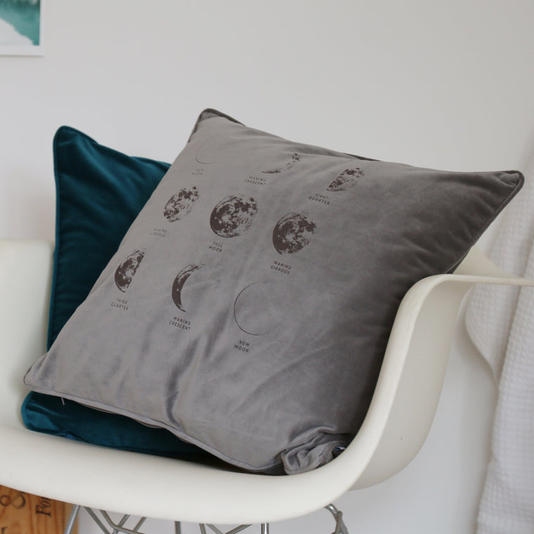 Phases of the Moon Velvet Cushion - Betsy Benn
