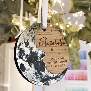 Love You to The Moon Hanging Ornament