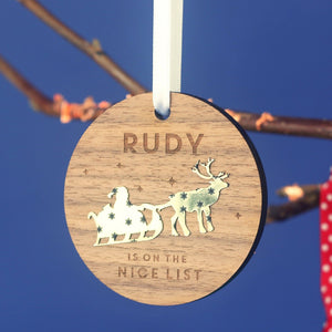 Personalised Nice List Christmas Bauble-Decoration-Betsy Benn