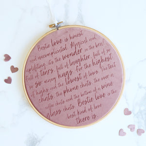BFF Best Friend Love Velvet Embroidery Hoop