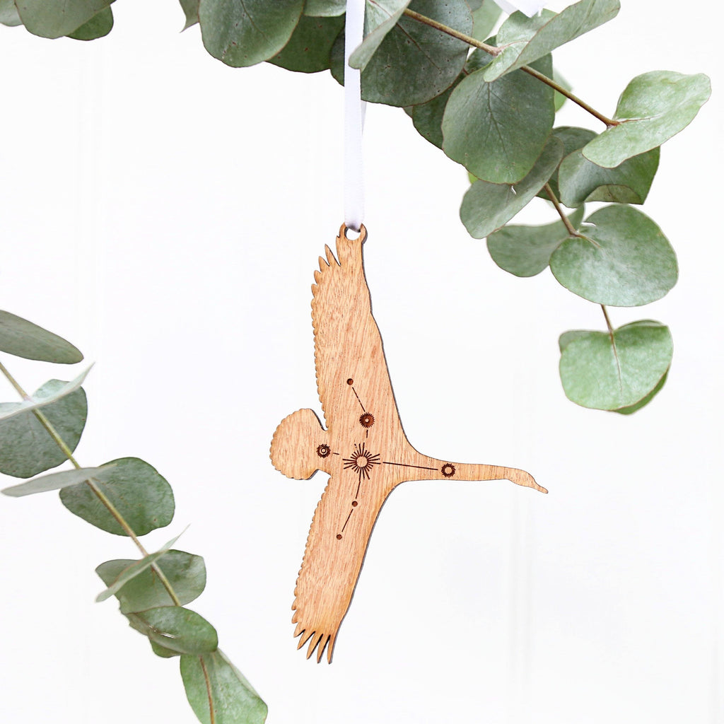 Cygnus Swan Constellation Wooden Christmas Ornament