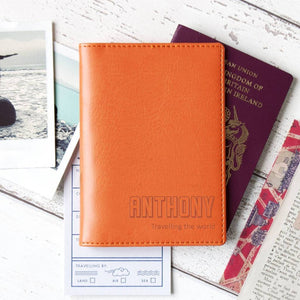 Orange pumpkin adventure passport wallet