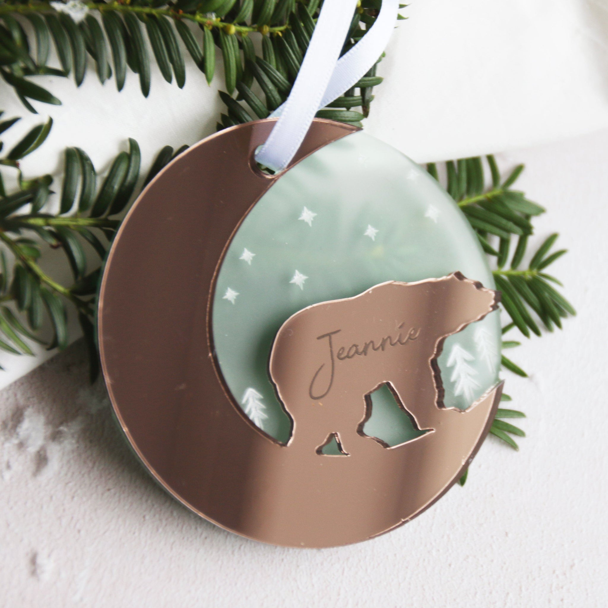 Scandi Polar Bear Personalised Christmas Tree Decoration By Betsy Benn