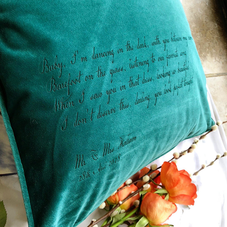 Velvet Personalised Favourite Quote or Song Lyric Cushion - Betsy Benn