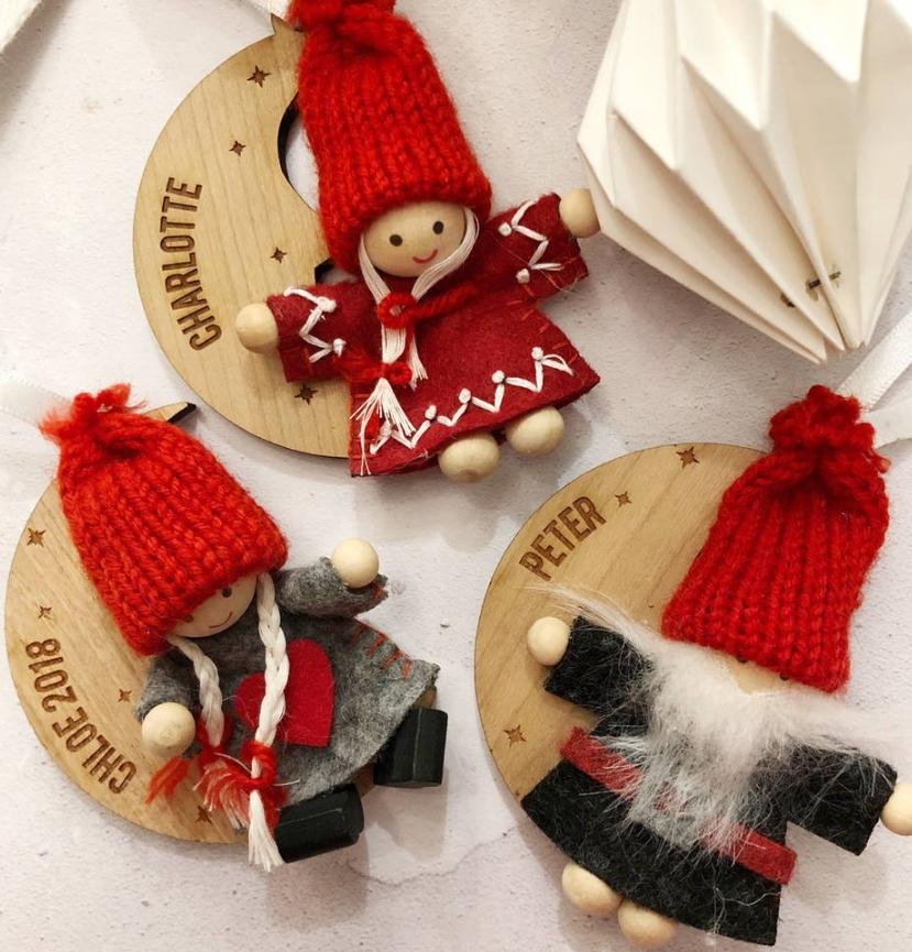 Scandi Christmas Character Personalised Tree Decoration-Decoration-Betsy Benn