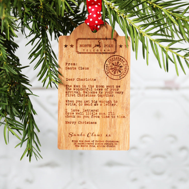 Adopted Child's First Christmas | Wooden Tag Telegram Decoration - Betsy Benn