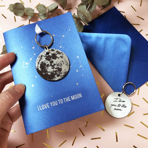 To The Moon and Back Keyring and Valentine's Card