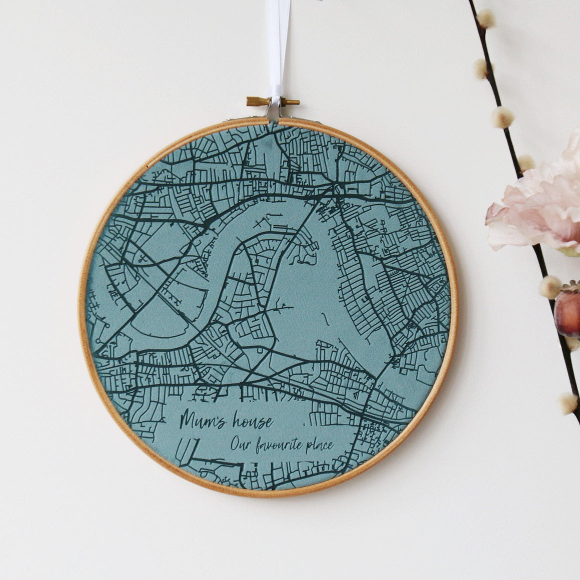 Velvet Map Embroidery Hoop