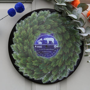 Personalised Vinyl Record Christmas Wreath