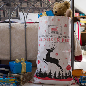 Pair of Kraft White Christmas Reindeer Sacks