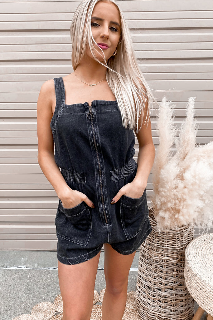 Plunge Button Romper