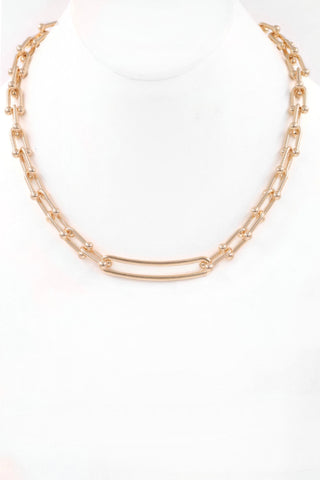 Chain Link Bar Necklace - Gold