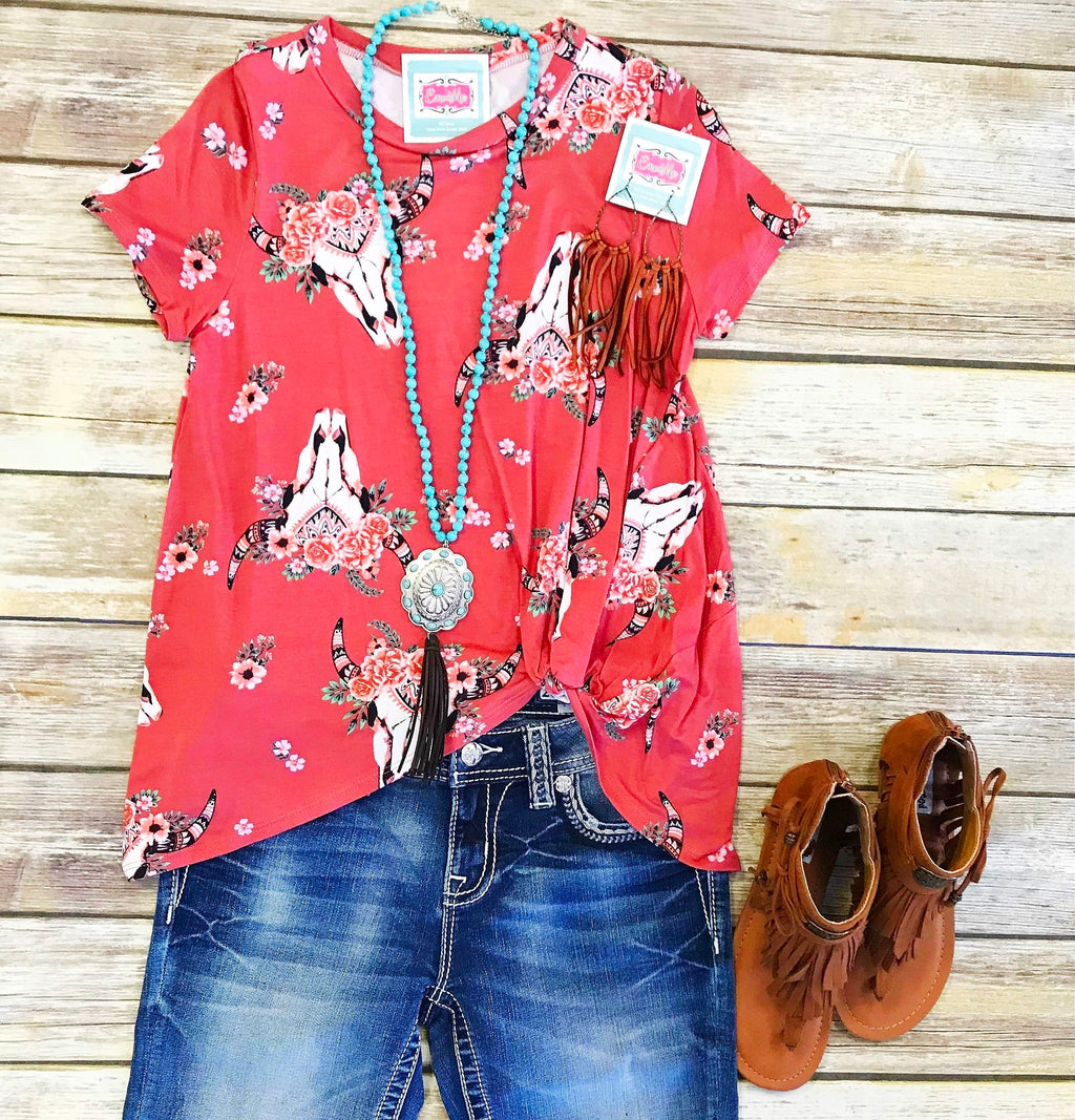 Longhorn Love Clay Knot Top
