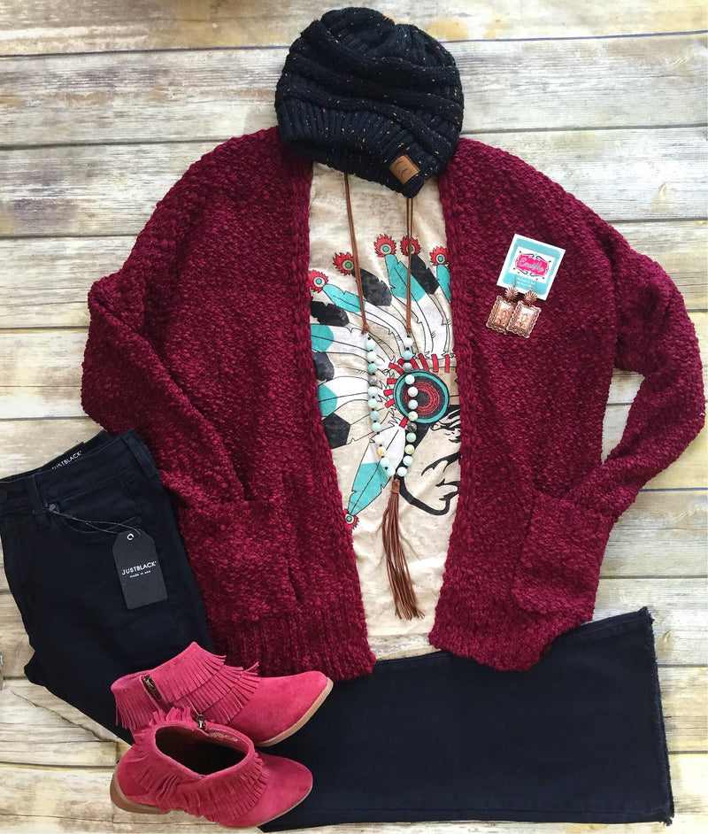The Orville Redenbaker Maroon Popcorn Sweater Cardigan