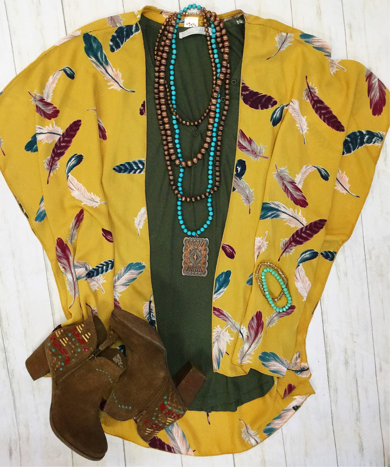The Mustard Buffalo Feather Kimono