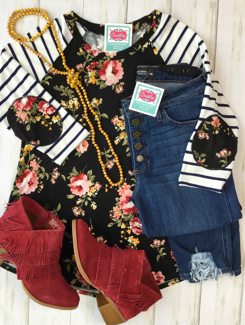 The Forget Me Not Floral Stripe Top