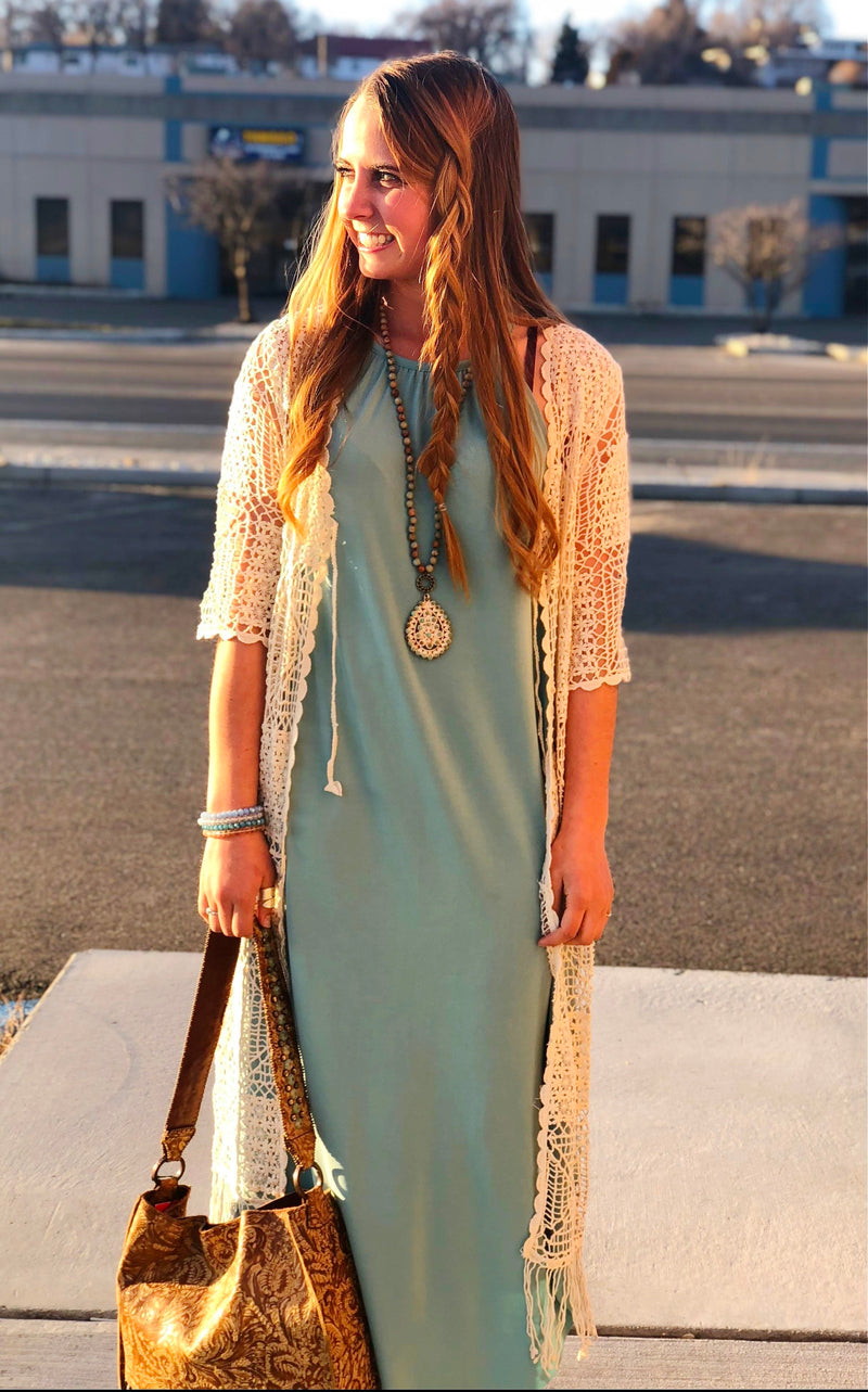 The Tallahasse Turquoise Halter Maxi Dress