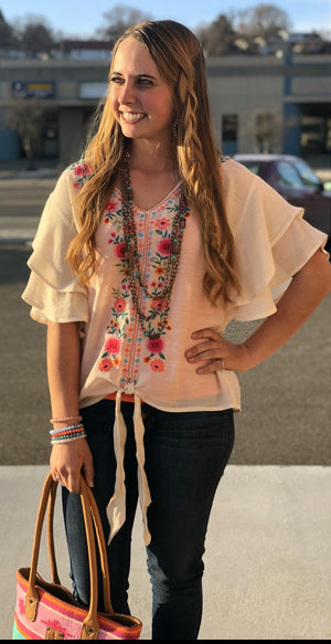 The Solvang Embroidered Knot Top