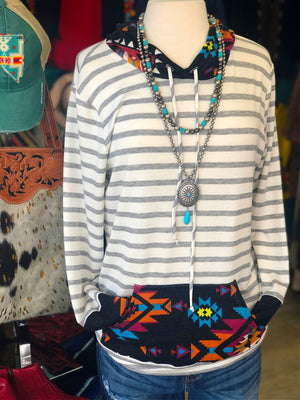 The Sioux Fall Striped Tribal Hoodie Top