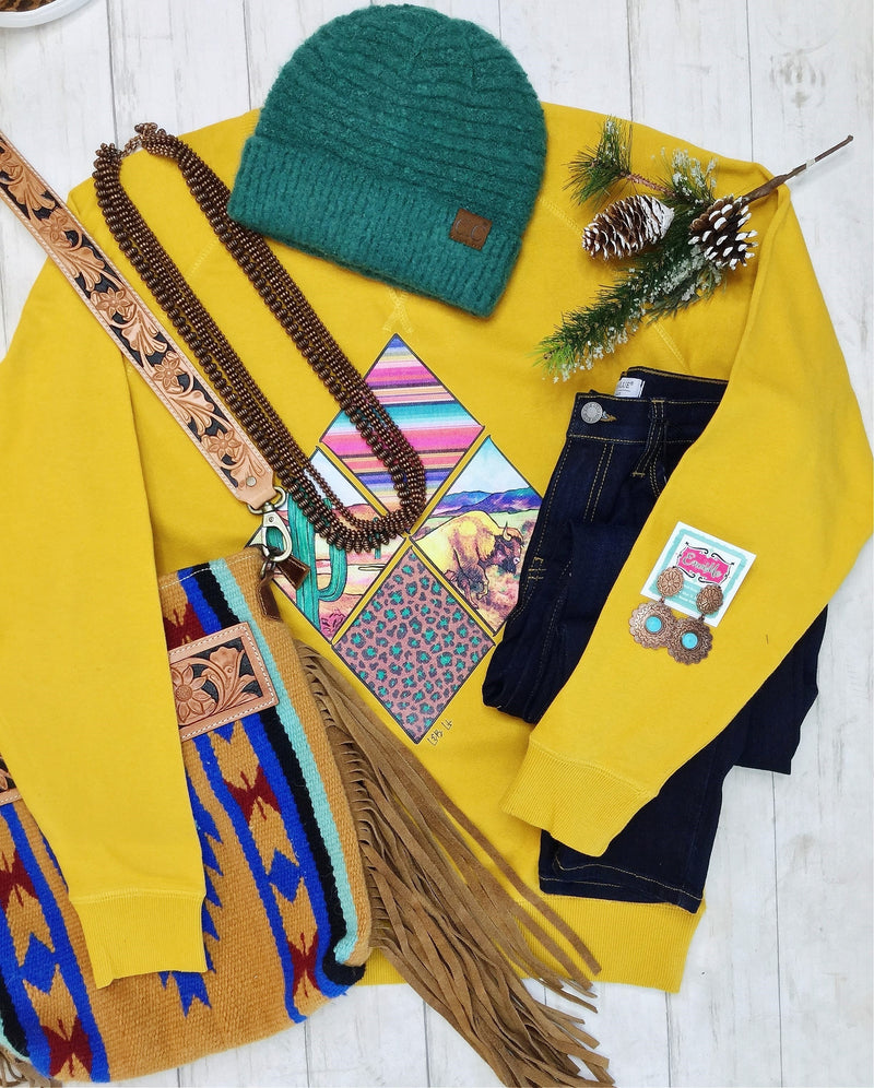 The Mustard Serape Buffalo Cactus Sweatshirt