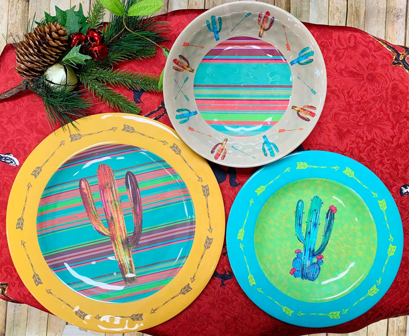 Southwest Cactus 3 piece Plate Set
