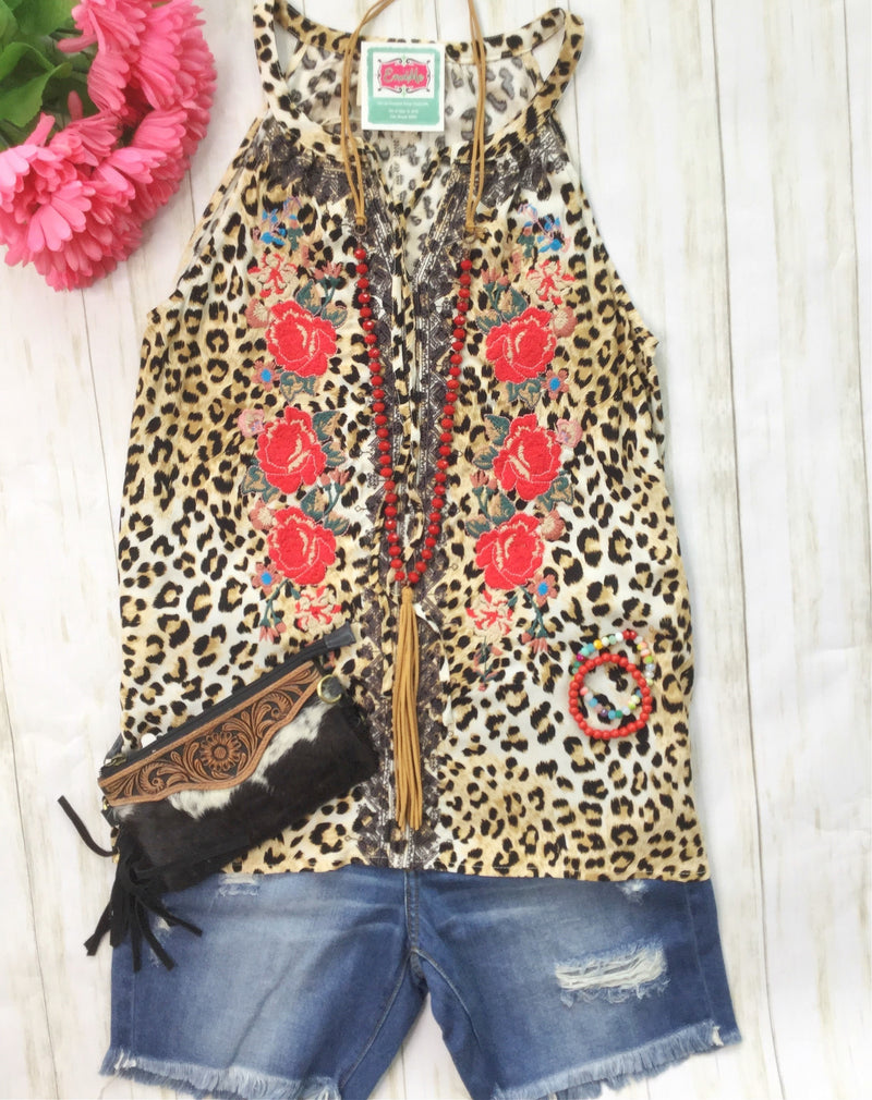 The Cape New Embroidered Cheetah Sleeveless Top