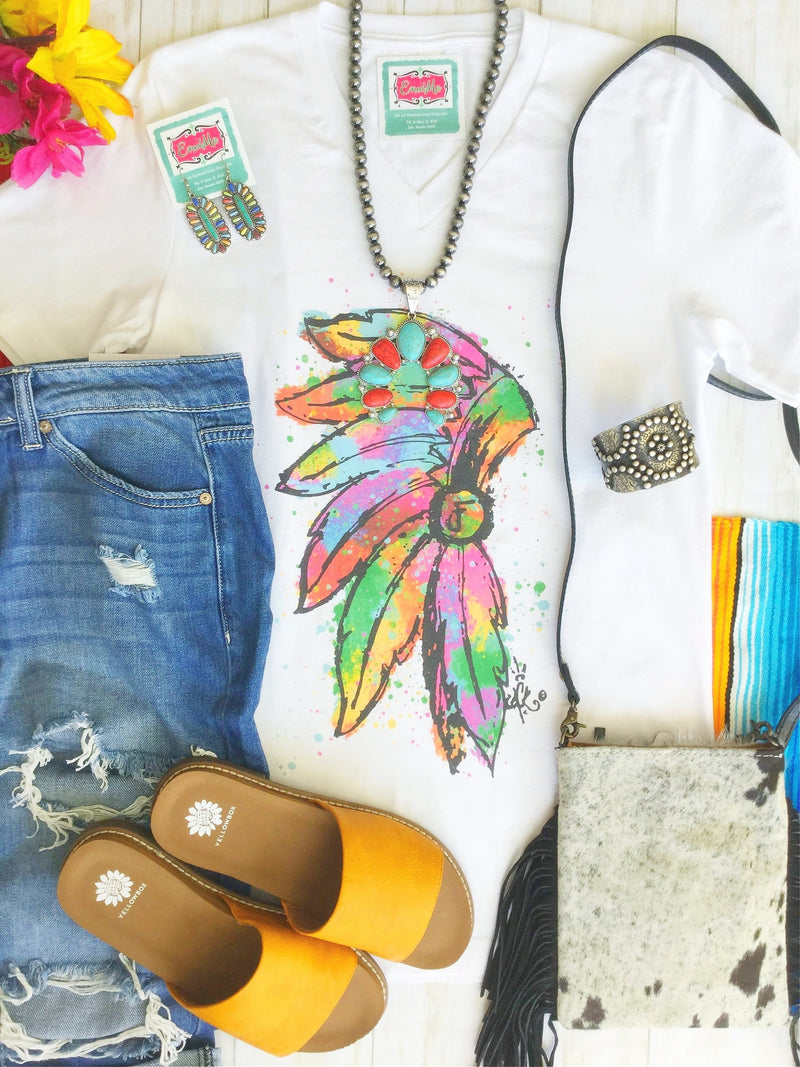 The Watercolor Huron Chief V Neck Tee