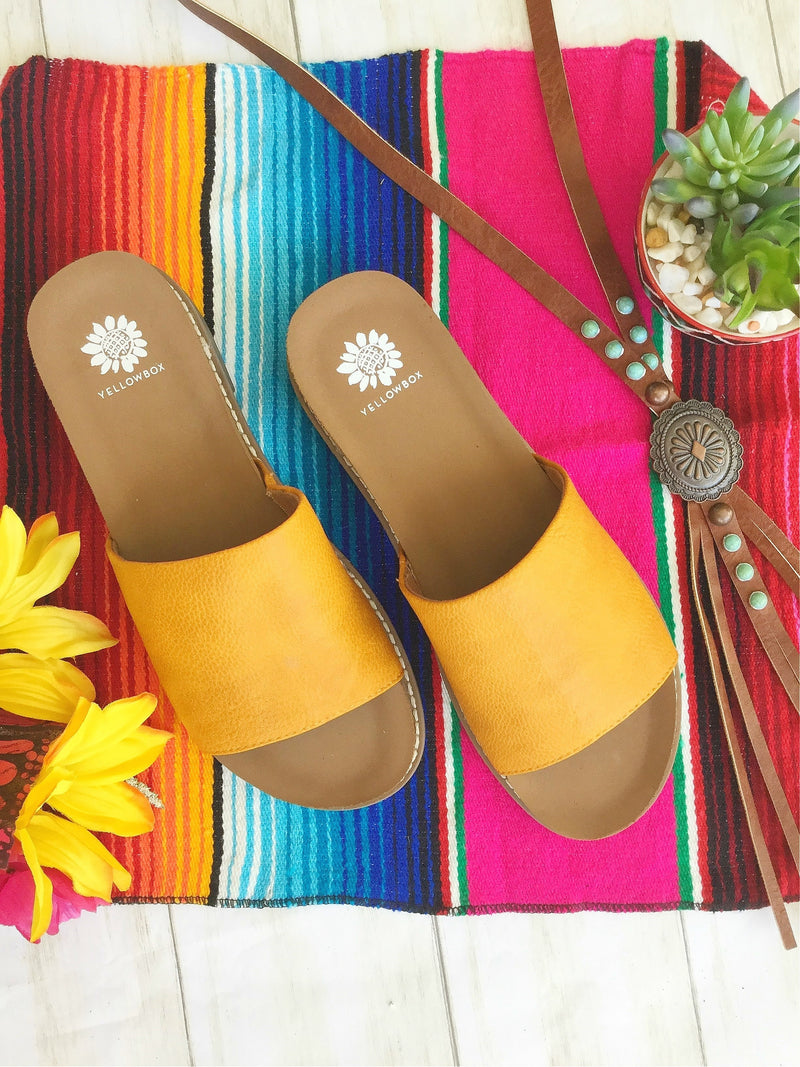The Marietta Mustard Slide Sandal