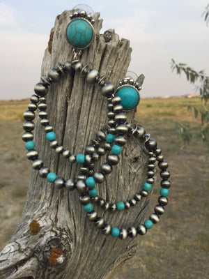 The Silver Navajo Pearl & Turquoise Loop Earrings