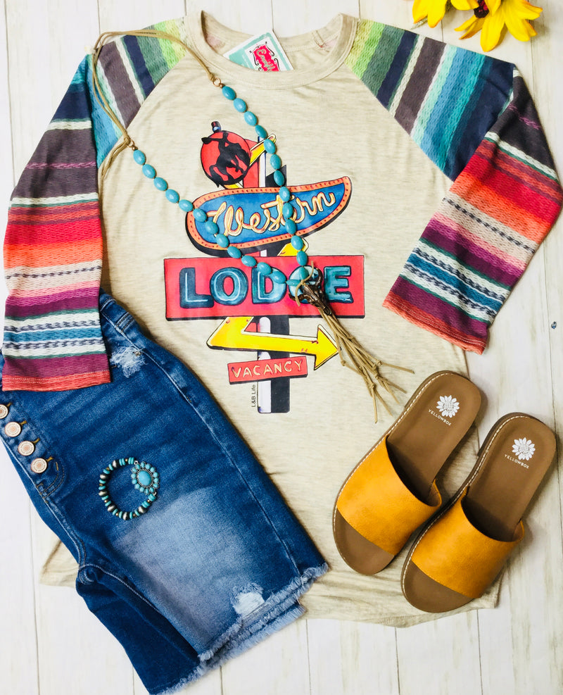 The West Of Lodge Serape Sleeve Top