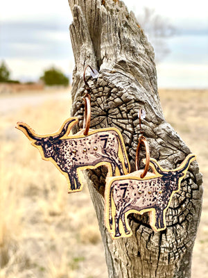 The Wild Longhorn Leather Earring