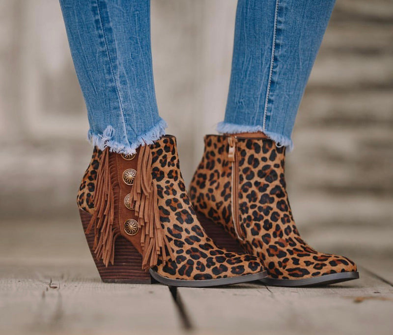 The Zenobia Cheetah Concho Fringe Bootie