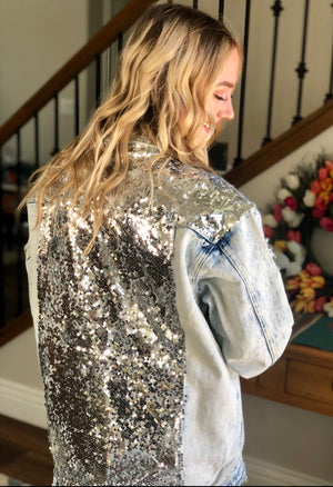 The City Lights Sequin Denim Jacket