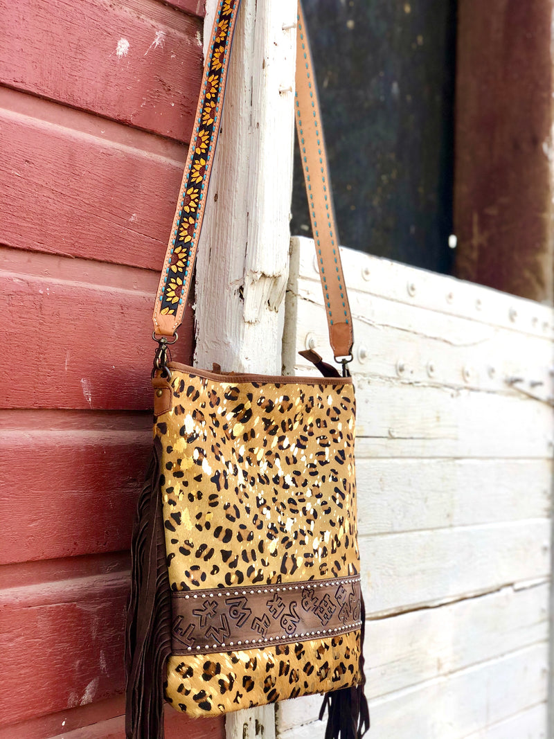 The Sunflower Strap Cheetah Hair On Branded Cowhide Bag