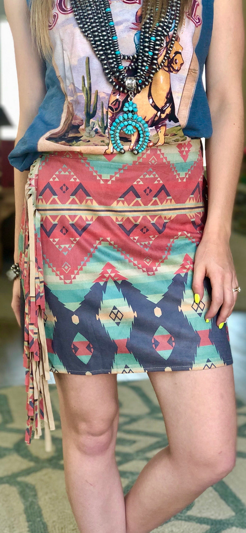 The Aztec Navasota Fringe Skirt