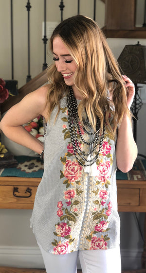 Italee's Striped Embroidered Sleeveless Top