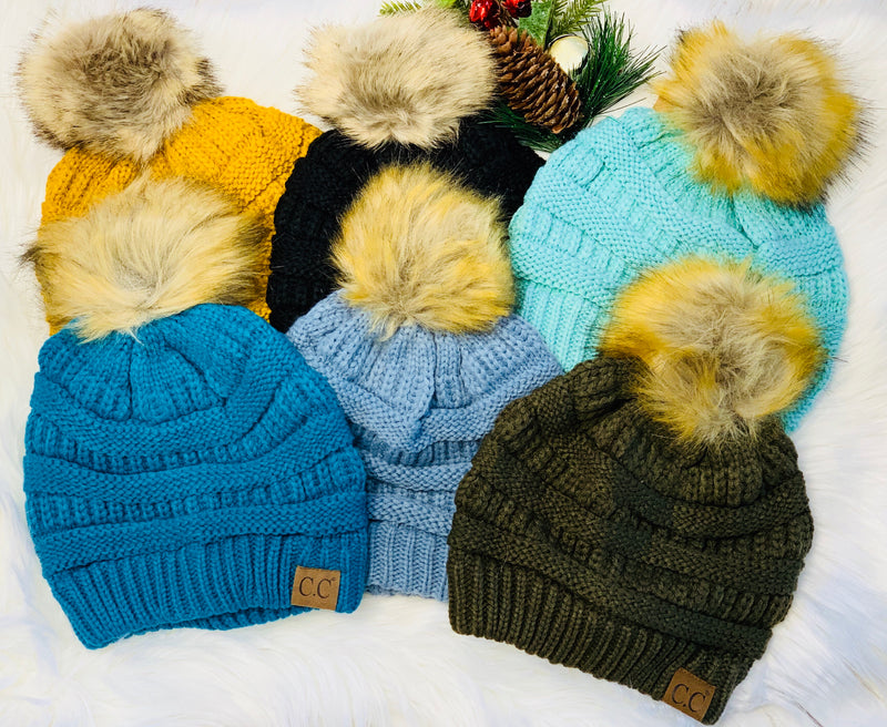The CC Fur Pom Beanies