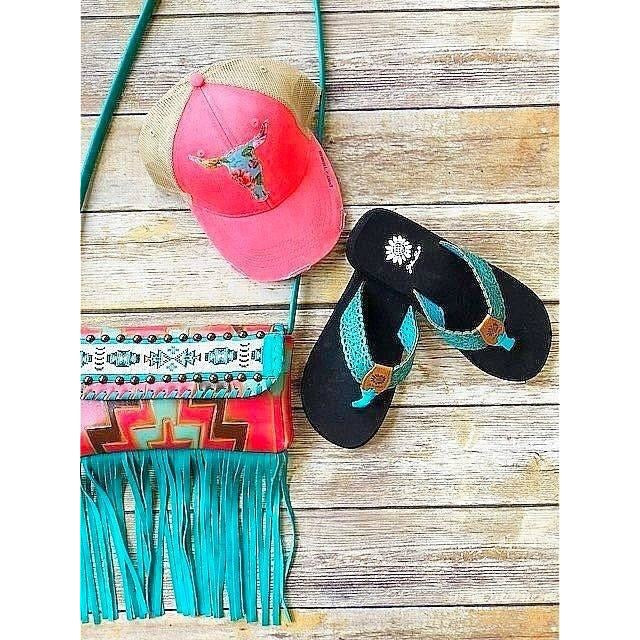 Turquoise Cut Out Flip Flops