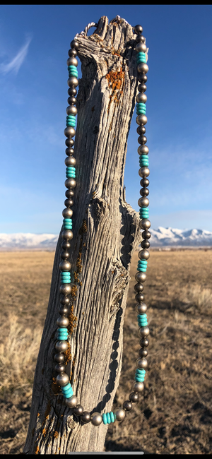 The Navajo Pearl and Turquoise Stone Necklace