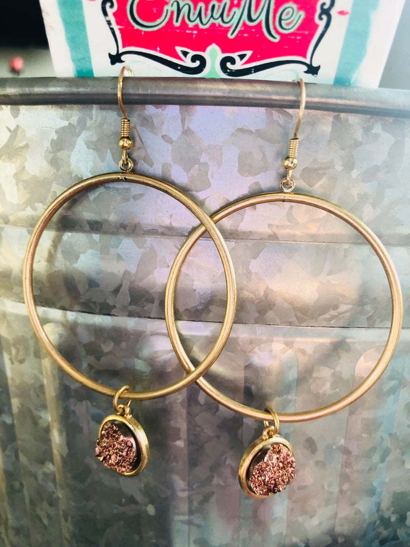 Gold Hoop with Druzy Stone Drop Earrings