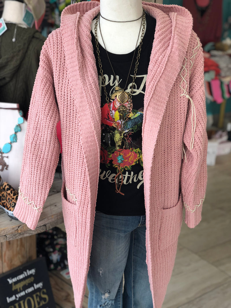 Lariat's Lace Up Hoodie Sweater Cardigan