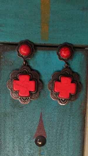 South of The Border Vintage Cross Earrings