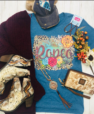 The Bucking Blue FLoral Rodeo Tee