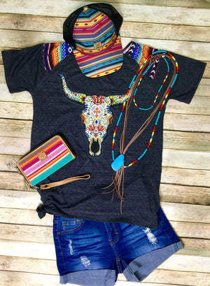 The San Felipe Steer Serape V Neck Tee