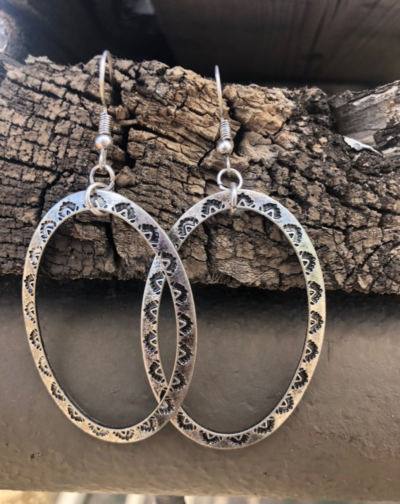Silver Engraved Oval Earrings